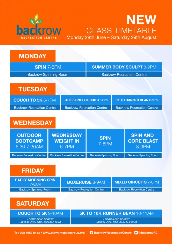 Backrow Class timetable